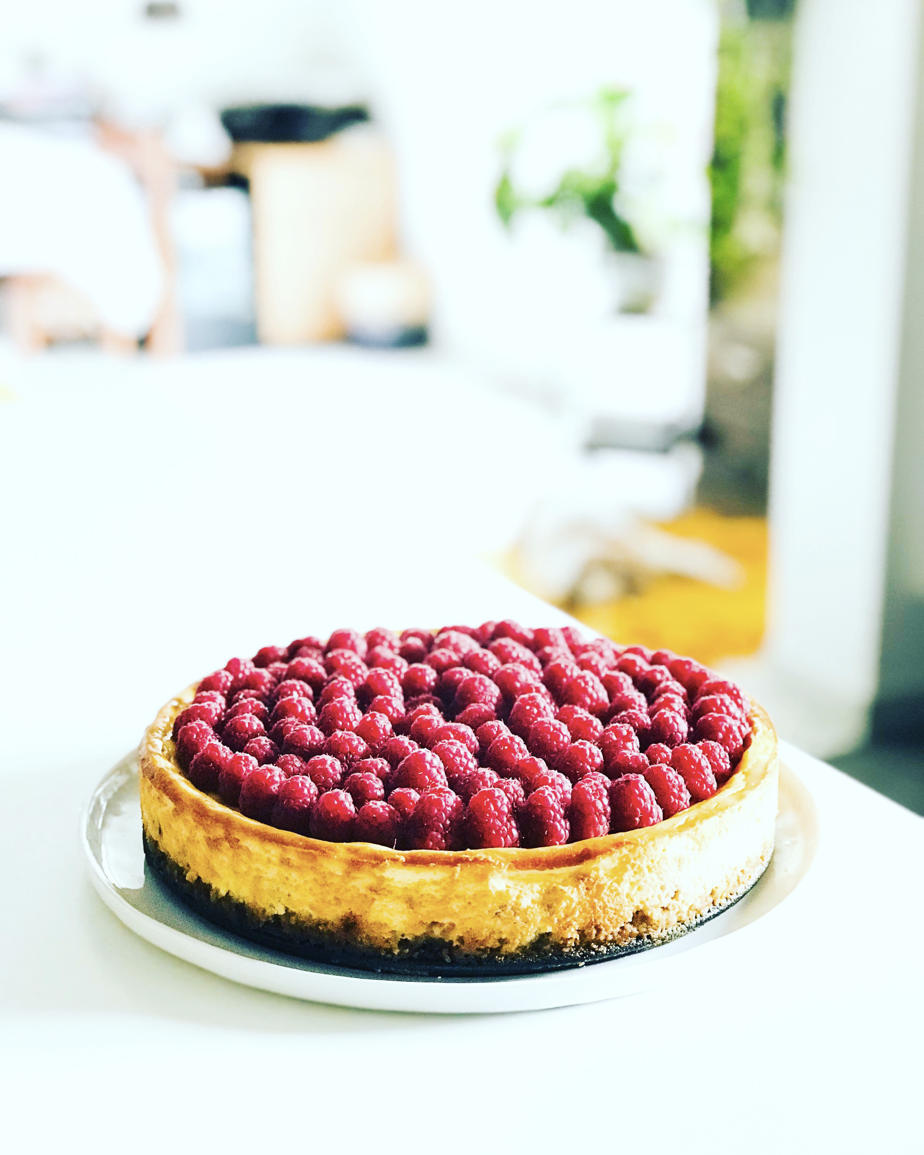 cheesecake, framboises