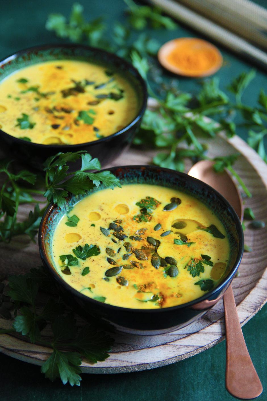 potiron, soupe, photo et recette l'atelier de Steph et lolie, curcuma