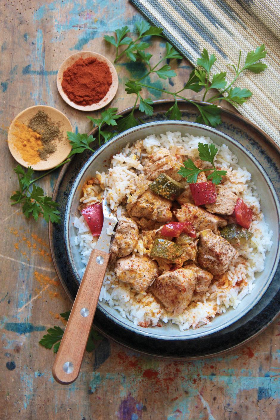 poulet, curry, photo et recette l'atelier de Steph et lolie