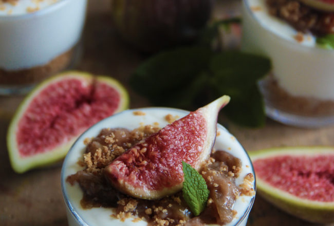 verrines, figues, crumble, photo l'atelier de Steph et lolie